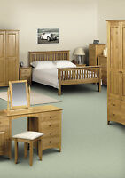 KENDAL SHAKER SOLID PINE BEDROOM RANGE 2 3 Door Wardrobe Chest Drawers Bedside