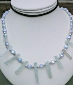 PALE BLUE CULTURED PEARL NECKLACE COATED QUARTZ CRYSTAL SHARDS CHAKRA TOGGLE