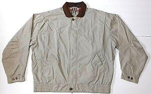 0ad2656f8 🏇Vtg. 90's🏇GANT Tan/Beige Harrington Leather collar Jacket plaid ...