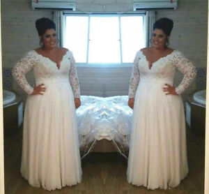 Details about Long Sleeve White/Ivory Lace Wedding Dress Bridal Gown Plus  Size 18 20 22 24 26+