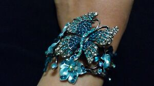 Butterfly-amp-Floral-Blue-Enamel-Cuff-Bracelet-Bangle-with-Rhinestone-Crystal