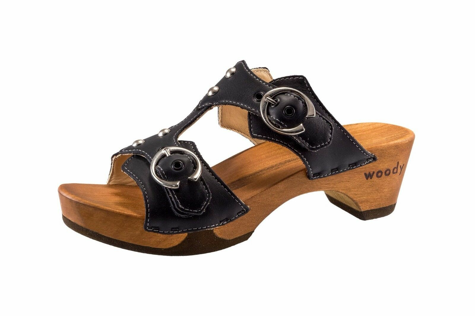 Woody Ladies Sandals wood-o-flex Leonie Black New Size 37 up to 39