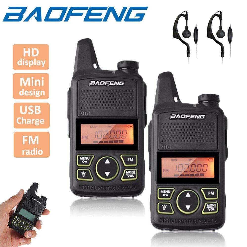 trytrybuy 2x Baofeng BF-T1 Two Way Radio UHF 400-470MHz Walkie Talkie Long Range + Headset