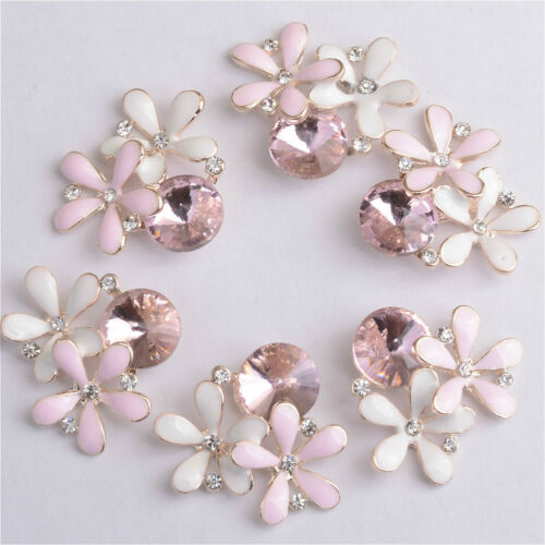 10x Crystal Pearl Flower Button Scrapbook Embellishment for Jewelry Making