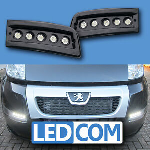 daytime running lights drl led pod kit fiat ducato boxer relay motorhome black ebay. Black Bedroom Furniture Sets. Home Design Ideas
