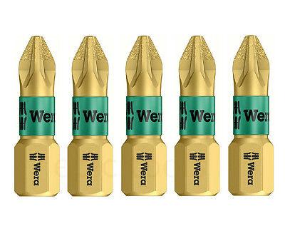 5 x WERA 25mm Bi-Torsion PZ2/Pozi 2  Diamond Coated Screwdriver Bits For Drill
