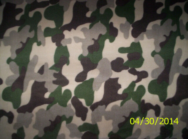 New Brown Military Camouflage Fleece Fabric by the 1/2 yard camo