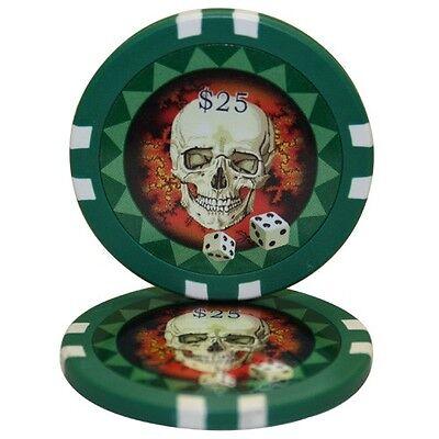100pcs 13.5g Skull Casino Poker Chips $50