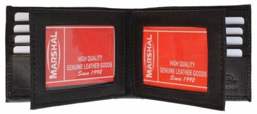 Men/'s Genuine Lamb Leather Multi Credit Card Holder 2 Flaps ID Bifold Wallet