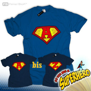 Be-a-Superman-Superheld-T-Shirt-Name-Logo-Letter-Buchstabe-U-V-W-X-Y-Z-Party