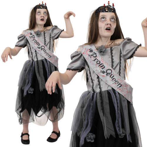 PROM QUEEN DEAD BRIDE GIRLS COSTUME HALLOWEEN FANCY DRESS OUTFIT SASH AND CROWN