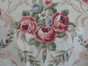 Antique Vintage 1940/'s Shabby Floral Cotton Fabric ~ Black Rose Pink White Tan
