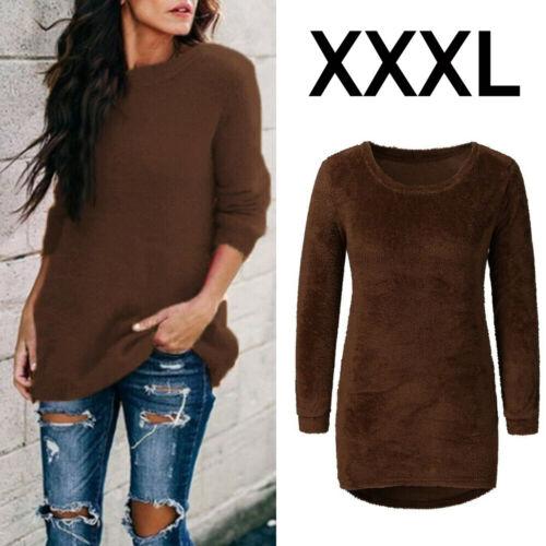 Women Fur Fluffy Loose Pullover Tops Long Sleeve Jumper Blouse Velvet Sweater