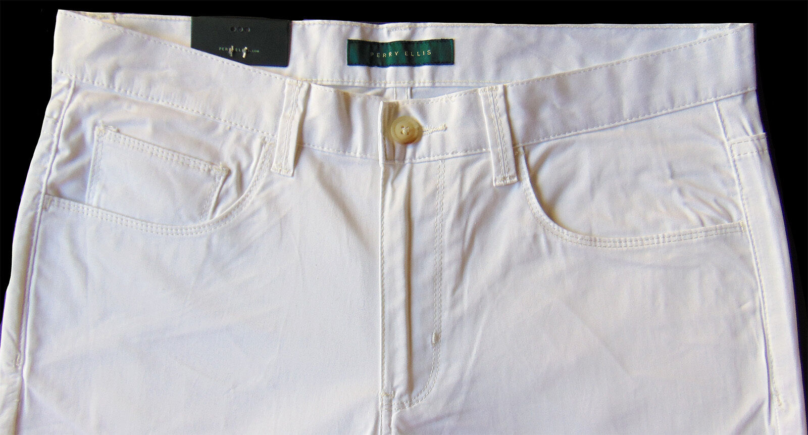 Men's PERRY ELLIS White Cotton + Jean-Style Pants Tagged 34x32 NWT NEW Slim Fit