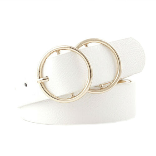 Women Girls Faux Leather Belt Round Ring Metal Double Buckle Waistband TX1F