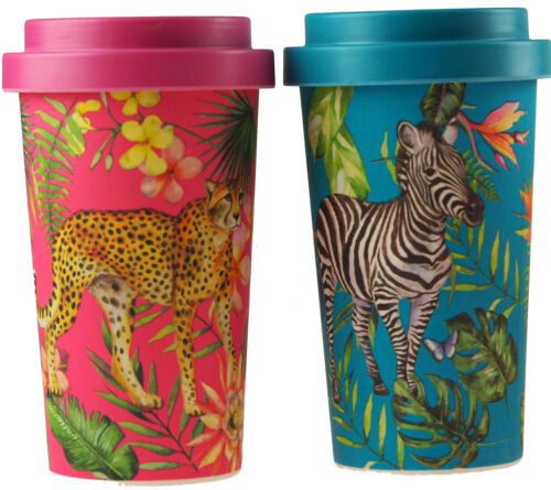 Set Of 2 Safari Animal Eco Friendly Bamboo Travel Mugs With Lids Cheetah Zebra