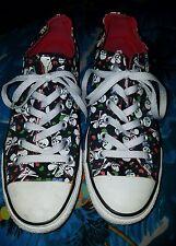All Star Converse Sneakers Black Multi Color Skulls Hearts Bows Sz W-8