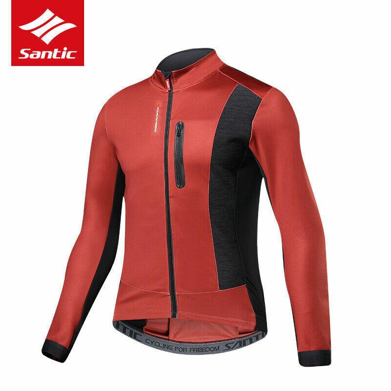Santic Uomo Giacca in Pile Invernale Ciclismo Antivento Lungo Jersey equitazione Top Rosso