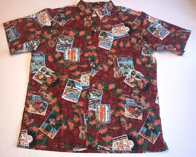 Reyn Spooner 2017 Mele Kalikimaka Christmas Aloha Shirt Large Santa Holiday Red