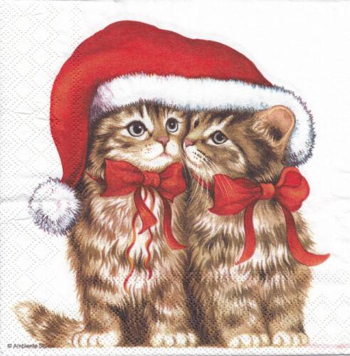5 Lunch Servietten Dressed Kitten Weihnachten basteln Katzen Schleife Nikomütze