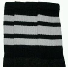 "22"" KNEE HIGH BLACK tube socks with GREY stripes style 1 (22-50)"