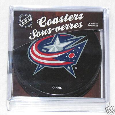 COLUMBUS BLUE JACKETS Hockey TEAM LOGO 4 COASTER SET NEW Made from Actual Puck