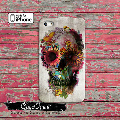 Flower Sugar Skull Cute Tumblr Apple iPhone 4,4s,5,5s,5c,6/6s, 6/6s Plus Case
