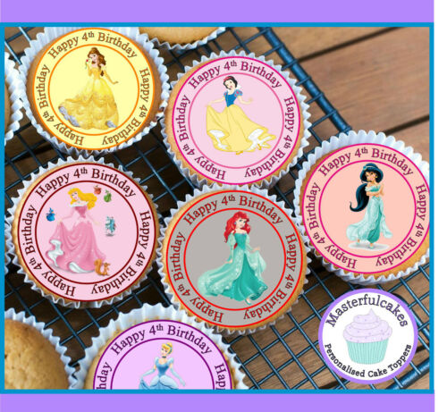 24 X PRINCESS 4TH BIRTHDAY EDIBLE CUPCAKE TOPPERS CAKE WAFER PAPER OR ICING