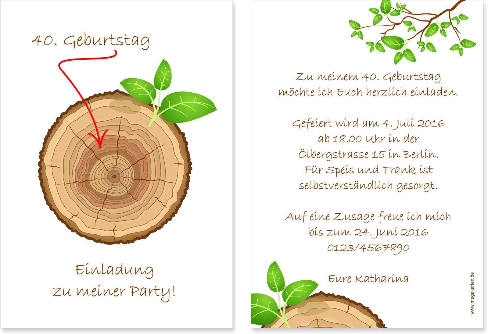 10, 20, 30...Einladungskarten Geburtstag • Einladung • Baumringe   | Hochwertige Materialien  | Neue Produkte im Jahr 2019