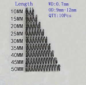 10Pcs 0.6mm Wire Diameter 8//9//10//11//12 OD 5-50mm L Pressure Compression Spring