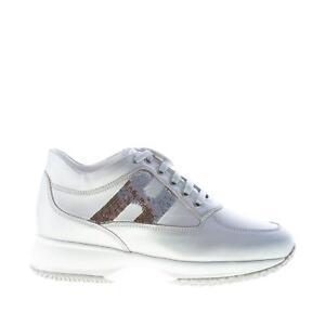 HOGAN-scarpe-donna-Sneaker-Interactive-pelle-metallizzata-argento-con-paillettes