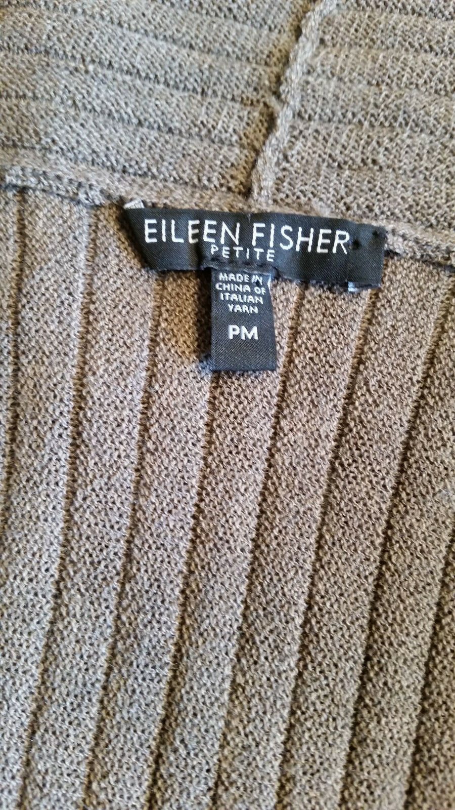 EILEEN FISHER Wool Taupe Brown Raised Rib Rib Rib Texture Open Front Drape Cardigan PM 60ee0b