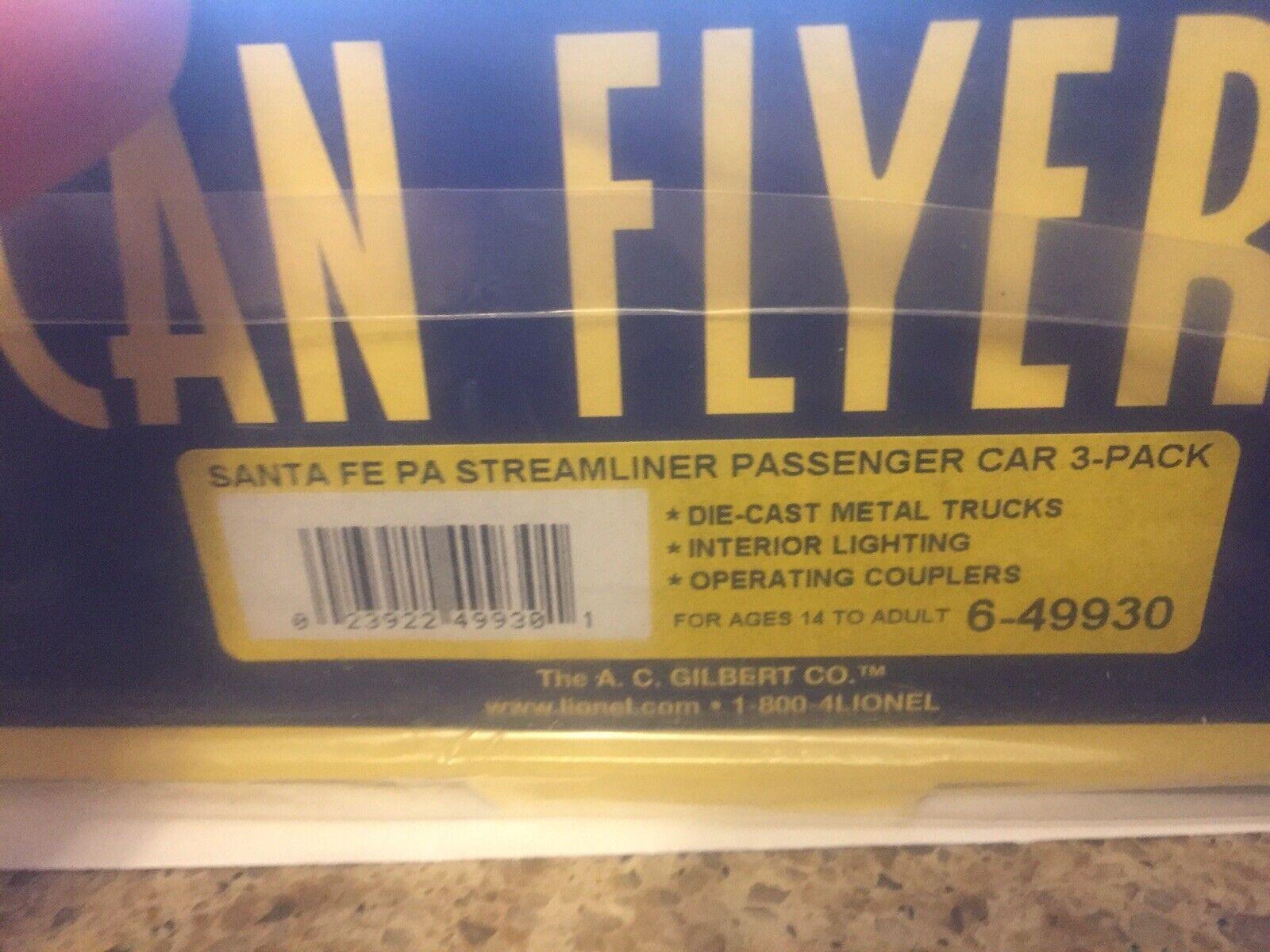 New American Flyer Santa Fe Passenger Car Set With Passenger Windows 3 AF CARS