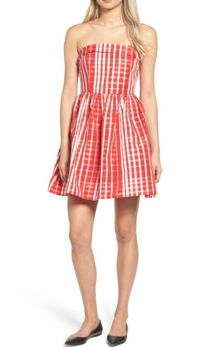 NWT Womens Vineyard Vines Red White Gingham Fit & Flare Strapless Dress Sz 12