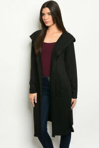 New-USA-Black-Boho-Goth-Open-Front-Long-Sleeve-Hoodie-Duster-Cardigan-Jacket-S-M