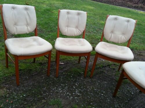 Vintage Dining chair set of Four Faux Leather Off White Cream
