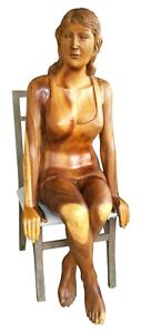 HUGE-Hand-Carved-Wood-Sculpture-Statue-Woman-Figure-Mid-Century-Modern-Vintage