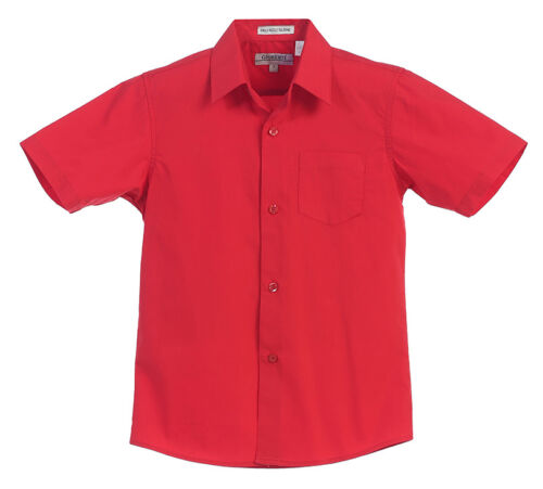 Boys Short Sleeve Dress Shirt Solid Toddler Kids Boy Formal Party Size 4-18 New