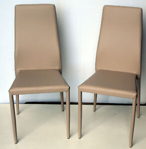 Sedie In Ecopelle Colorate.Set 2 Sedie Ecopelle Tortora Impilabili Ebay