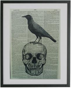 Skull Print No.316 edgar allan poe gothic print crow poster