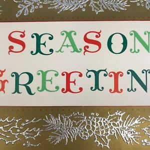 Vintage-Mid-Century-Christmas-Greeting-Card-Season-s-Greetings-Spell-Out-Gold