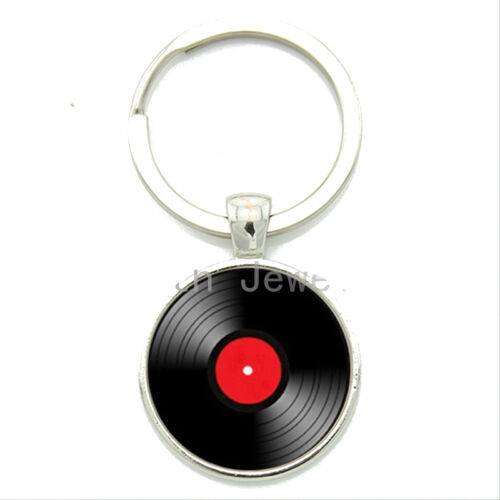 Vinyl Record KEYCHAIN Vintage Style KEY FOB CHAIN MUSIC 33 RPM  Vintage RED