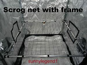 Image is loading Scrog-net-with-frame-1-5m-x-1- & Scrog net with frame 1.5m x 1.5m 50mm net grow tent hydroponics ...
