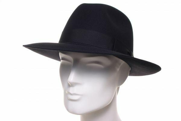 Borsalino Bogart breit schwarz Filz Hut Fedora Hüte Italien Kanin Haar Mafia Sti