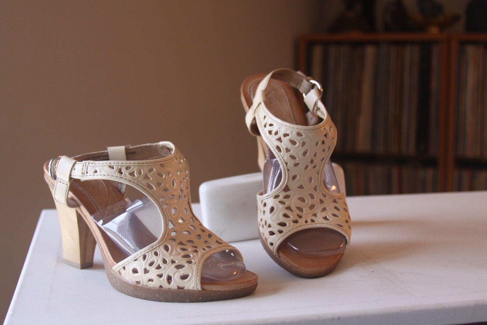 Naya Alpine Beige Leather 3.5 Inch Bamboo Heel Slingbacks Sandals Size 7 Medium