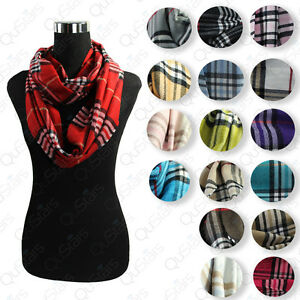 LOT-OF-NEW-WOMEN-HIGH-QUALITY-PLAIDS-amp-CHECKS-CASHMERE-INFINITY-COWL-SCARF