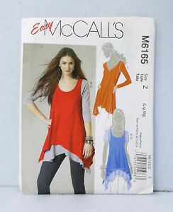 M6165-McCall-039-s-Easy-Woman-039-s-Top-Layered-Tunic-Assymetrical-Hem-Sewing-L-XL-16-22