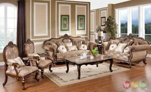 Victorian Traditional Antique Style Sofa LoveSeat Chair 3 Piece ...