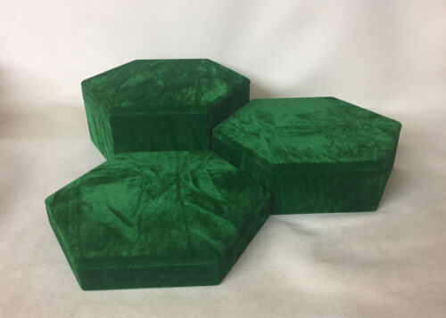 *Made in the UK* Set of 3 Hexagonal Jewellery Display Risers Vintage Green