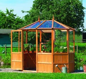 8 Eck Holz Gewachshaus Pavillon L Uv Stabil Plexiglas Ebay